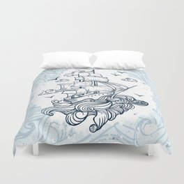 Hand drawn boat with waves background Duvet Cover