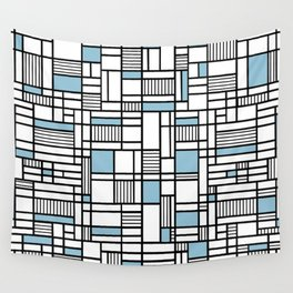 Map Lines Sky Blue Wall Tapestry