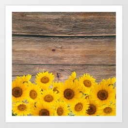 Rustic brown wood sunshine yellow sunflowers Art Print