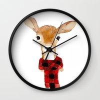 craftberrybush Wall Clocks featuring Fawn with buffalo check scarf by craftberrybush