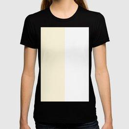 White and Cornsilk Yellow Vertical Halves T-shirt