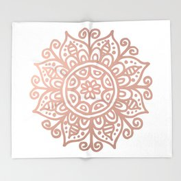 Rose Gold Floral Mandala Throw Blanket