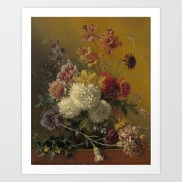 Georgius Jacobus Johannes van Os - Still life with flowers - 1820-1861 Art Print