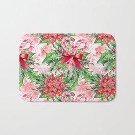 Poinsettia & Candy cane Bath Mat
