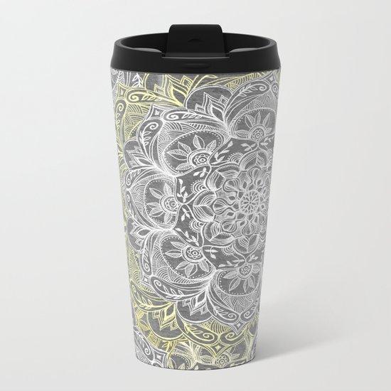 Yellow & White Mandalas on Grey Metal Travel Mug