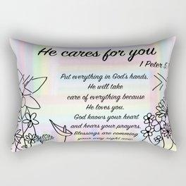 Flowers - 1Peters 5, 7 Rectangular Pillow