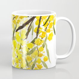 Godlen wattle flower watercolor Coffee Mug