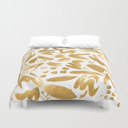 Modern abstract gold strokes paint Duvet Cover