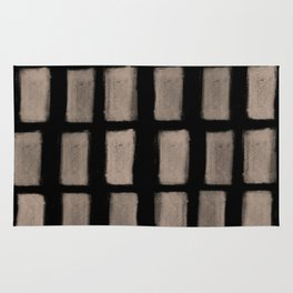 Brush Strokes Vertical Lines Nude on Black Rug