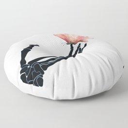 Butterfly on Skeleton Hand Floor Pillow