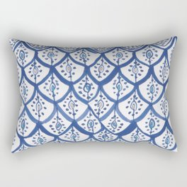 Moroccan Ceramic Tiles - Cobalt Blue Rectangular Pillow