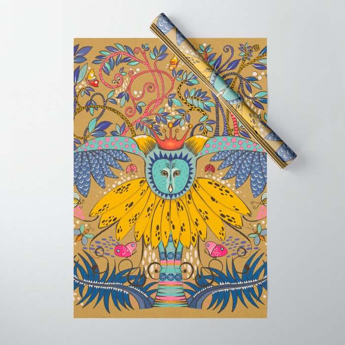 Owl in gold kingdom Wrapping Paper