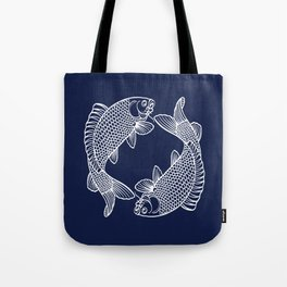 Navy Blue Koi Tote Bag