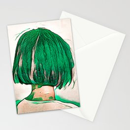 Green Hair Girl Stationery Cards