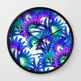 Exotic violet tropical leaves pattern Wall Clock