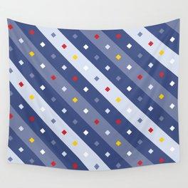 Blue Confetti Stripes Pattern Wall Tapestry