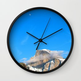 Day Moon over  Cloud Wrapped Half Dome Wall Clock