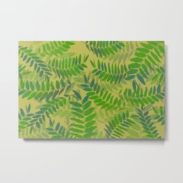 Green yellow leaves with light yellow background Metal Print