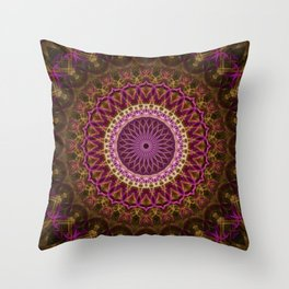 Pretty detailed mandala in golden and pink Throw Pillow