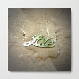 """Love"" in Metal — Wet Metal Print"