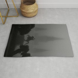 New Orleans, Jackson Square in fog, French Quarter black and white photograph / black and white photography Rug