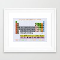 periodic table Framed Art Prints featuring Typographic Periodic Table by uchiclothing