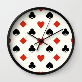 Diamonds, Hearts, Spades & Clubs - Playing Card Suits Wall Clock