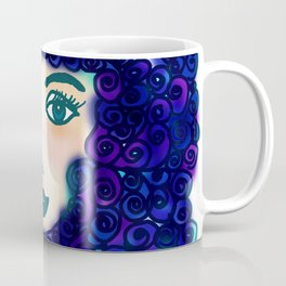 portrait of young woman with blue curly hair Coffee Mug
