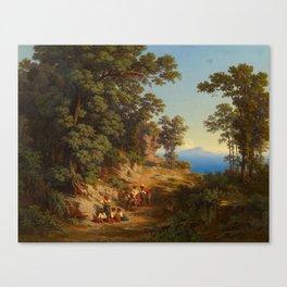 JAKOB 1813 Basel - 1865   Shepherds at the Coast Above Naples Canvas Print