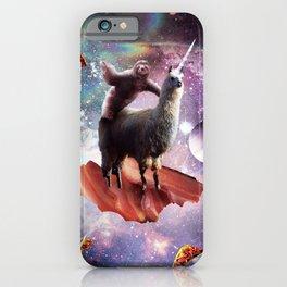 Space Sloth Riding Llama Unicorn - Bacon & Taco iPhone Case