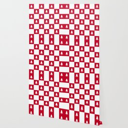 Christmas Tree - red and white check Wallpaper