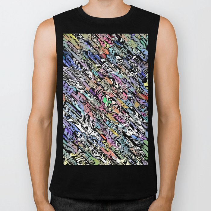 Chaotic Colorful Shapes Biker Tank