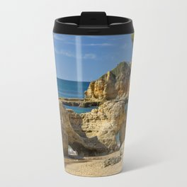 rock formation on Olhos d'Agua beach, Portugal Travel Mug