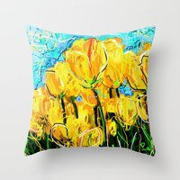 tulips Throw Pillows featuring Tulips  by sladja