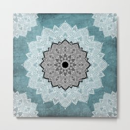 Dream Weaver Bohemian Mandala Black Blue White Metal Print