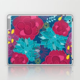 Royal blue floral Laptop & iPad Skin