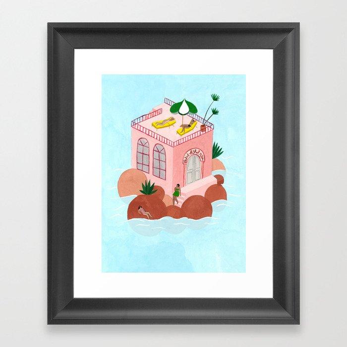 Petit Hôtel Rose Framed Art Print