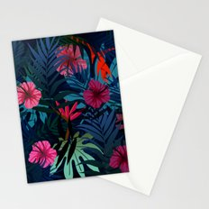 Blue tropical flowers Stationery Cards