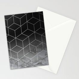 Silver Geometric Cubes Trendy White Grey Marble Stationery Cards
