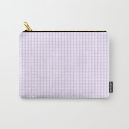 Chalky Pale Lilac Pastel and White Mini Gingham Check Plaid Carry-All Pouch