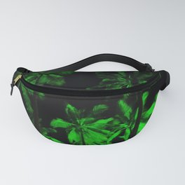 Night green palm trees Fanny Pack