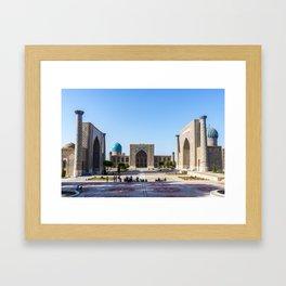 Registan square in Samarkand Framed Art Print