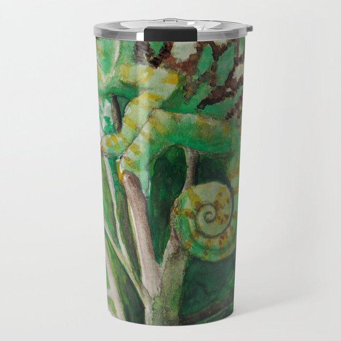 Chameleon in Watercolour Travel Mug