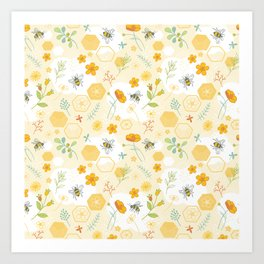 Honey Bees and Buttercups Art Print
