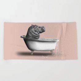 Hippo in Bath Beach Towel