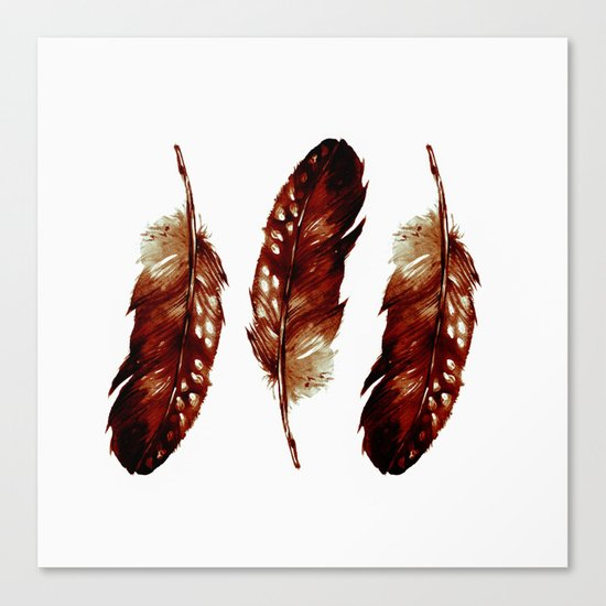 Three Feathers Brown Canvas Print