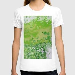 Caribbean Green - Lime Green Bright Fluid Art T-shirt
