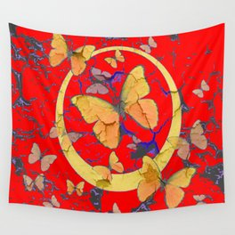 SHABBY CHIC GOLDEN BUTTERFLIES & RED ABSTRACT ART Wall Tapestry