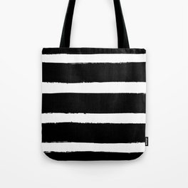 Black & White Paint Stripes by Friztin Tote Bag