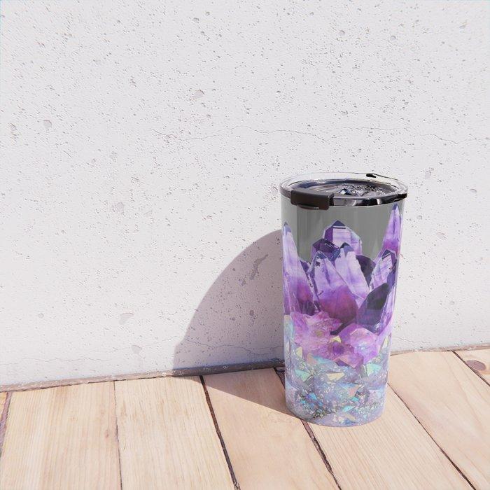 SPARKLY WHITE QUARTZ & PURPLE AMETHYST CRYSTAL Travel Mug
